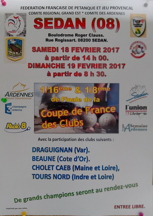 Coupe de France des Clubs de Petanque Sedan